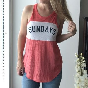 Well Worn SUNDAYS burn out style racer back tank